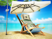 Concept of a credit vacation Concept travel One hundred dollar Royalty Free Stock Images
