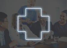 Concept croisé de graphique d'icône de traitement de santé d'hôpital Photos libres de droits