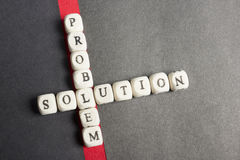 Concept of crossing out problem and finding the solution. Wooden abc Royalty Free Stock Images