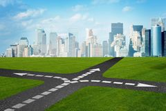 The concept of crossroads in uncertainty concept Stock Image