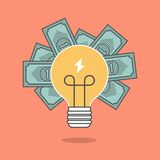 Concept of crowdfunding, light bulb and money Stock Images