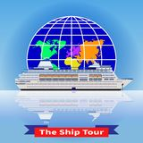 The concept of a cruise ship tour around the world vector illustration