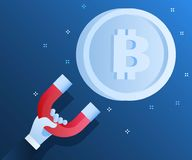Concept of Crypto-currency. Businessman holding magnet and attract bitcoin. Crypto currency mining. Flat design, vector illustration in blue color Stock Images