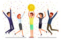 Concept of cryptocurrency. Businessman mining to find bitcoins and earning cryptocurrency. Happy business people. Flat design, vector illustration Stock Photography