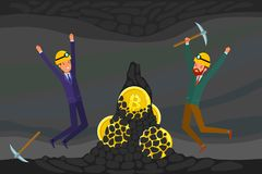 Concept of cryptocurrency. Businessman mining to find bitcoins and earning cryptocurrency. Flat design, vector illustration Royalty Free Stock Photo