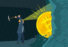 Concept of cryptocurrency. Businessman mining to find bitcoins and earning cryptocurrency. Flat design, vector illustration Stock Photography