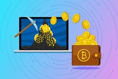 Concept of cryptocurrency. Mining bitcoins and earning cryptocurrency. Concept of cryptocurrency. Mining to find bitcoins and earning cryptocurrency. Bitcoin on Stock Photo