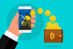 Concept of cryptocurrency. Mining bitcoins and earning cryptocurrency. Concept of cryptocurrency. Mining to find bitcoins and earning cryptocurrency. Bitcoin on Royalty Free Stock Photos