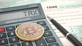 Concept of cryptocurrency and taxes. Close-up view of a bitcoin coin, an electronic calculator and a tax form 3d render Royalty Free Stock Photography