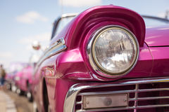Concept of Cuba attractions. Headlight of old car in Havana, Cub Stock Image