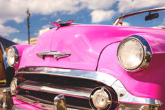 Concept of Cuba attractions. Headlight of old car in Havana, Cub Stock Photography