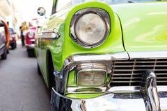 Concept of Cuba attractions. Headlight of old car in Havana, Cub Stock Photos