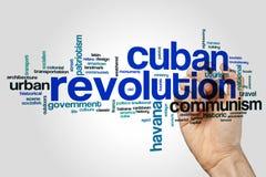 Concept cubain de nuage de mot de révolution sur le fond gris illustration libre de droits