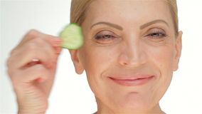 The concept cucumber facial mask stock video footage