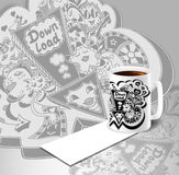 Concept with cup of coffee and down load doodle monsters in white black. Concept with cup of coffee visit card and picture of down load doodle monsters in white vector illustration