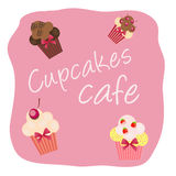 The concept of cupcakes cafe menu. Royalty Free Stock Photos