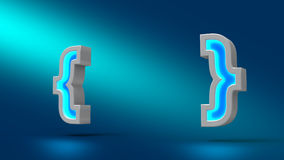 Concept curly bracket on blue background. 3d illustration. Set for design presentations. Frame text or title Stock Photography