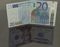 Concept : the currency pair Euro - dollar Royalty Free Stock Images