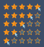 Concept for customer review. Cursor arrow choosing rating stars. Stock Photo