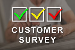 Concept of customer survey. Customer survey concept illustrated by a picture on background royalty free stock images