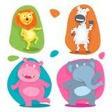 Concept of cute funny wild cartoon animals. Stock Photos