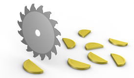 Concept of cutting costs. A saw disk that cuts coins: cost (3d render Royalty Free Stock Photos
