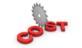 Concept of cutting costs. A saw disk that cuts the word: cost (3d render Stock Photo