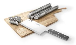 Concept of cutting of metal and sharp knife. Meat knife cutting metal armature. 3d vector illustration