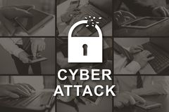Concept of cyber attack. Cyber attack concept illustrated by pictures on background stock photo