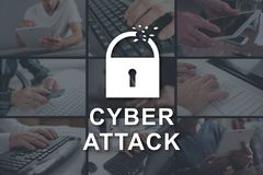Concept of cyber attack. Cyber attack concept illustrated by pictures on background stock image