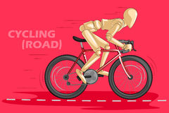 Concept of Cycling with wooden human mannequin Royalty Free Stock Photography