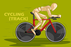 Concept of Cycling with wooden human mannequin Stock Photography