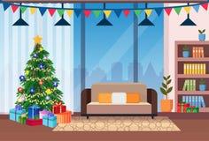 Concept décoré par salon de vacances d'hiver de décoration intérieure de maison de pin de bonne année de Joyeux Noël à plat illustration stock