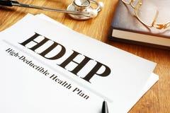 Concept déductible élevé de hdhp de plan de santé photo libre de droits