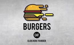 Concept délicieux de gras de nourriture industrielle d'hamburgers illustration de vecteur