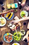 Concept délicieux de repas de partie de célébration de Tableau de nourriture Photo libre de droits