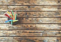 Concept, démarrage, crayons, bureau, lieu de travail, en bois, freelanc Photo libre de droits