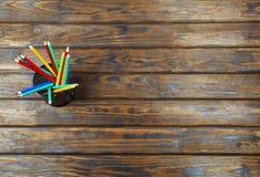Concept, démarrage, crayons, bureau, lieu de travail, en bois, indépendant, l'espace de copie Images libres de droits