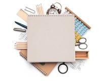 Concept d'école d'isolement sur le fond blanc Photographie stock