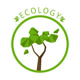 Concept d'écologie avec le fond d'arbre de polygone illustration stock