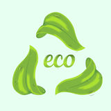 Concept d'écologie avec les feuilles vertes Image stock