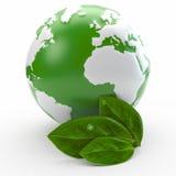 Concept d'écologie de globe et de feuille Photos stock