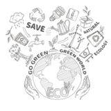 Concept d'écologie de griffonnages Photographie stock libre de droits