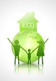 Concept d'écologie. globe et famille Photographie stock libre de droits