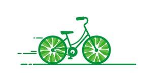 Concept d'écologie, jour de bicyclette, vélo vert dans le style plat illustration stock