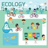 Concept d'écologie l'illustration plate de conception, enfants pour enregistrer la terre, sauvent le monde, les gens sauvent la p illustration de vecteur