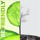 Concept d'écologie - soyez lettrage amical avec la vie et l'arbre mort illustration de vecteur