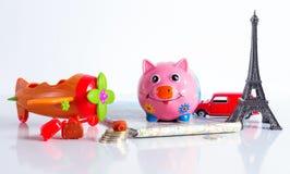 Concept d'économie d'argent de vacances de voyage Images stock