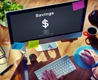 Concept d'économie de budget d'argent d'actifs bancaires de l'épargne image libre de droits