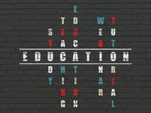 Concept d'éducation : éducation de mot dans la solution Photographie stock libre de droits